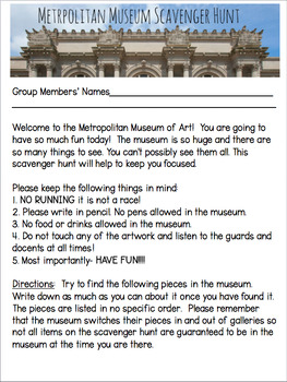 """""""Mixed Up Files..."""" Scavenger Hunt for the Metropolitan Museum of Art in NYC"""