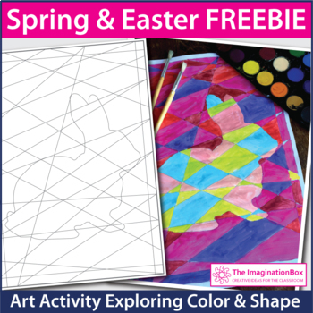Free 'Modern art' Easter coloring templates craftivity