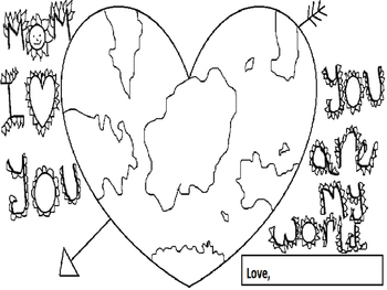 """Mom You are my world"" Mother's day Coloring activity"