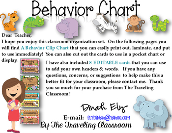 Editable Jungle Zoo Safari Behavior Clip Chart