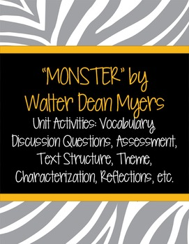 """Monster"" By Walter Dean Myers Unit Activities"