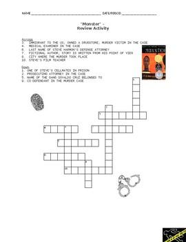 """""""Monster"""" Crossword Activity - Review"""