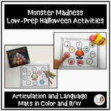 """Monster Madness"" Low-Prep Halloween Speech and Language Activities"