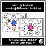 """Monster Madness""  Halloween Speech and Language Activities"