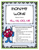 """Monster Words"" (-oo, -ew, -ue, -ui) Phonics Packet"