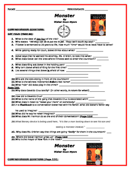 """""""Monster"""" by Walter Dean Myers - Comprehension Questions - Day 4"""