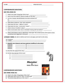 """""""Monster"""" by Walter Dean Myers - Comprehension Questions (Entire Novel)"""