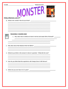 """""""Monster"""" by Walter Dean Myers - Comprehension Questions - Final Look"""