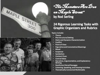 """""""Monster's Are Due on Maple Street"""" Unit Plan –24 Tasks w/Organizers and Rubrics"""