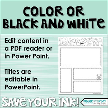 Monthly Newsletters : Color and Backline, PDF and Editable PowerPoint