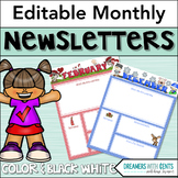 Editable Monthly Newsletter Templates : Color and Blackline! PDF or PowerPoint!