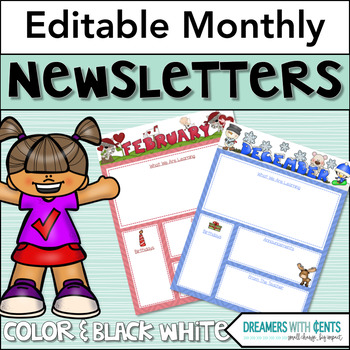 Monthly Newsletters : Color and Backline, PDF and Editable