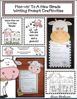 """""""Moo-vin' To A New Grade!"""" Writing Prompt Craftivities & Bookmarks"""
