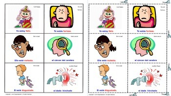 """""""Moods and Feelings"""" in English & Spanish. Lottery (Board Game)."""