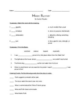 """""""Moon Runner"""" QUIZ (Journeys Grade Four Reader)"""