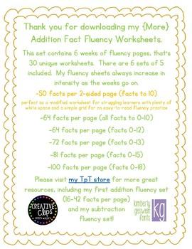 {More} Addition Fact Fluency Worksheet Set