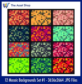 'Mosaic Backgrounds' Set #1 (Digital Clip Art)
