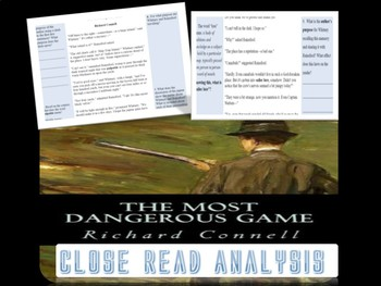 """""""Most Dangerous Game"""" Part One Close Read Analysis Excerpt"""
