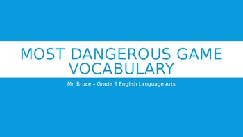 """""""Most Dangerous Game"""" - Vocabulary (literary elements)"""