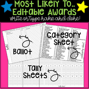 """Most Likely to"" End of Year Class/School Awards for Upper Grades! Editable!"