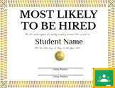 """""""Most Likely to Be Hired"""" Editable Certificate - Special Education High School"""