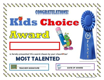 """""""Most Talented"""" KIDS CHOICE AWARD- For Primary and Middle Grades Children!"""