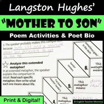 """Mother to Son"" (Langston Hughes) Poem Activities"