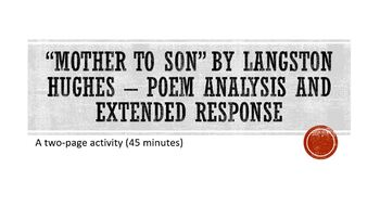 """""""Mother to Son"""" by Langston Hughes Poem Analysis and Extended Response"""