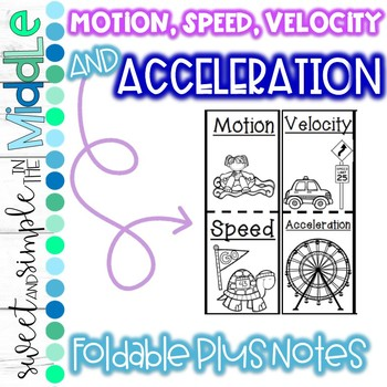 Motion, Speed, Velocity, and Acceleration Foldable plus Notes