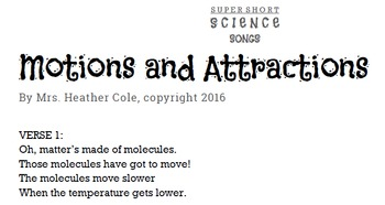 """""""Motions and Attractions"""" Molecules and Phases of Matter Song"""