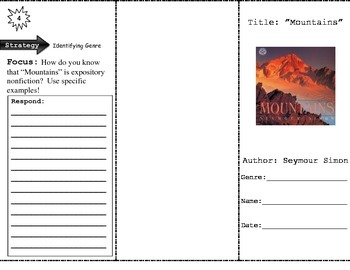 """""""Mountains"""" Comprehension Trifold (Storytown Lesson 12)"""