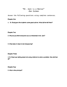 """Mr. Jack is a Maniac"" Comprehension Questions"
