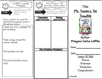 """Mr. Tanen's Tie"" Skills Trifold aligned to Journeys Lesson 16"