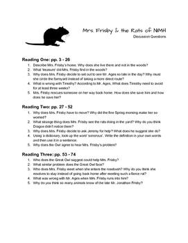 """Mrs. Frisby & the Rats of NIMH"" - Discussion Questions"