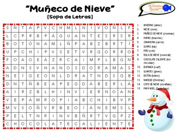 """Muñeco de Nieve"" Snowman Holiday Activity for Spanish Students (Grades K-6)"