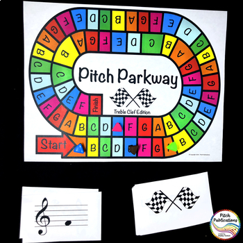 Music Centers - Pitch Parkway {BUNDLE} Treble Clef Note Naming Game