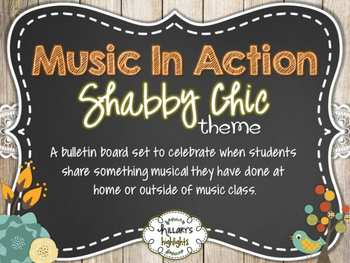 """Music In Action"" Bulletin Board Set-Shabby Chic"