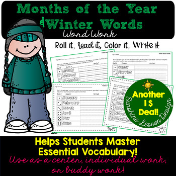 """""""Must Know"""" Months of the Year and Winter Weather Words. Read, Spell, Write!"""