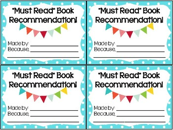 """""""Must Read"""" Book Recommendation Cards"""