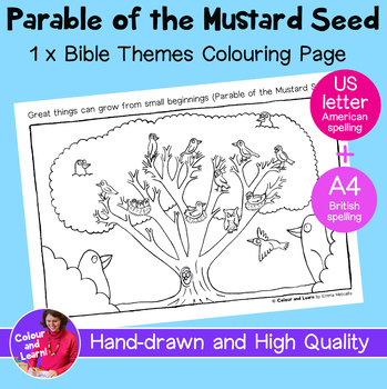 """""""Mustard Seed"""" Printable Bible Coloring Sheet/Colouring Page (Christian/Church)"""