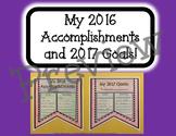 """""""My 2016 Accomplishments and 2017 Goals"""" Pennant"""