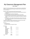 """My Classroom Management Plan""  Project for Education Prof"