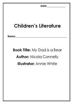 My Dad is a Bear' Comprehension Sheets by Happy Teaching Australia