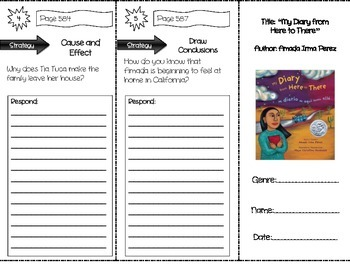 """""""My Diary from Here to There"""" Comprehension Trifold (Storytown Lesson 22)"""