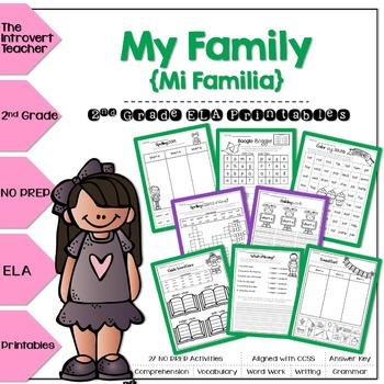 My Family (Mi Familia) NO PREP ELA Printables for 2nd Grade