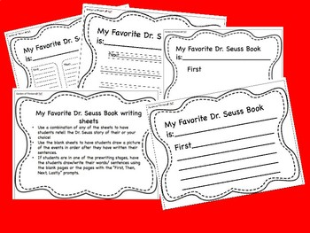 """""""My Favorite Dr. Seuss Book"""" writing sheets"""