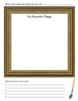 """""""My Favorite Things"""" Back to School Art Worksheet"""