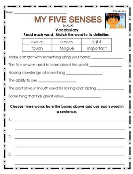 """""""My Five Senses"""" Activities for Guided Reading & Writing"""
