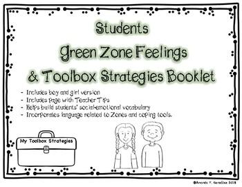 """""""My Green Zone Feelings & Toolbox Strategies"""" Student Booklet"""