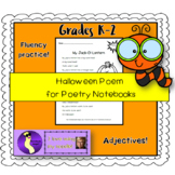 """My Jack O' Lantern"" Poem Poetry Notebooks Fluency Literacy Halloween"